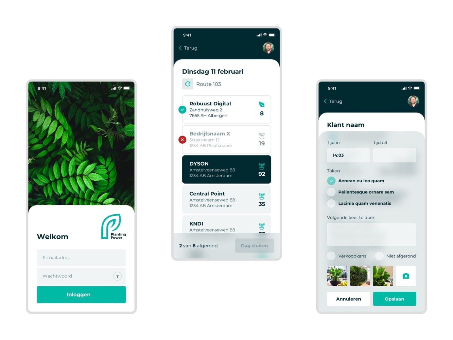 PWA met perfectview koppeling voor Planting Power